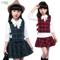 Wholesale Teenage Suits For Boys - Wholesale- V-TREE 2016 spring autumn girls clothing set plaid 3pcs set cotton girls school uniform teenage clothes sets suits for girls