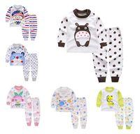 Wholesale cotton striped pajamas - Baby Pajamas Atumn Girls Boys Long Sleeve Cotton Pajamas Sets Children Homewear Kids Cartoon Sleepwear Suit For 1~10Y