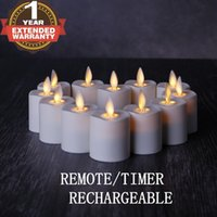 Wholesale Rechargeable Led Candles - NONNO&ZGF Rechargeable Flameless Votives Moving Flame Wick LED Tealight Candles with Charging Base and Remote Control, Set of 12