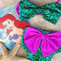 Wholesale Girls Swimwear Top - Children Mermaid Swimwear Bow top+bow Swimming pants 2pcs set cartoon Mermaid Bikini Kids Swimsuit C1925