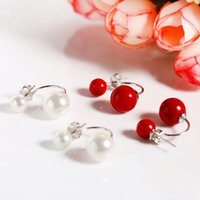 oyster beauty - Beauty oyster pearl earrings ear cuff color pearl hanging earrings S925 silver pearls mm OL Jewelry E64