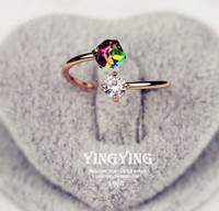 Wholesale white gold valentines day ring resale online - Valentine s Day gift diamonds rose gold retro zircon ring ring influx of women s ring