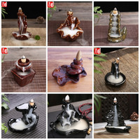 Wholesale Incense Holders Wholesale - Porcelain Ceramic Censer Bergamot Lotus Shape Incense Burner Holder Back Flow Repose At Ease Cone Incensory High Quality 8cy B