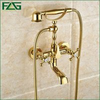 Wholesale Gold Finish Shower Taps - FLG Free Shipping Gold Plated Finish New Wall Mounted Shower Faucet Bathroom Bathtub Handheld Shower Bath Tap Mixer Faucet HS043