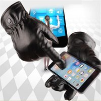 Wholesale motorcycle iphone waterproof - Men Women Unisex Touch Screen Gloves Motorcycle Cycling Mittens Winter Warm PU Leather Gloves Waterproof Windproof Gift Glove