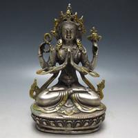 statue d'or tibétaine achat en gros de-La statue du Bouddha du bouddhisme tibétain en métal argenté plaqué or au Tibet