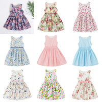 Wholesale Girls Dresses 15 Years - Girls Summer Sleeveless Floral Dresses Kids A-Line Princess Dress 1-7 Years 15 Designs Flower Bunny Fruits Stripe