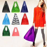 Wholesale Eco Reusable Shopping Tote Bags - DHL free ship New Candy color Japan Baggu Reusable Eco Friendly Shopping Tote Bag pouch Environment Safe Go Green 100pcs