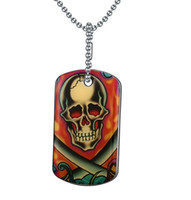 Wholesale x men necklace - Hot Sale Cool Men Stainless Steel Printing X Skull Dog Tag Necklace With Engraved Letter
