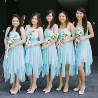 Wholesale Refresh Water - Refresh 2017 High Low Bridesmaid Dresses Country Style Strapless Ruched Bodice A Line Sky Blue Chiffon Wedding Beach Bridesmaid Dresses