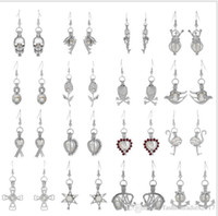 Wholesale Locket Chandelier - Hot Sale Love Wish Pearl Cages Locket Earrings Freshwater Pearls Oyster Pendant Earrings with Pearl Hollow Out Dangle Earrings
