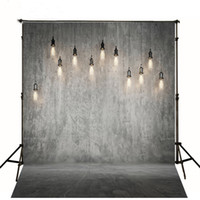 Wholesale vintage wedding photo props for sale - Group buy Gray Solid Wall Backdrop Wedding Bright Hanging Light Bulbs Vintage Photography Backdrops Studio Photo Booth Wallpaper Prop