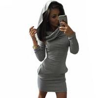 plus size female clothing al por mayor-Mujeres de talla grande se visten en club de fiesta de manga larga otoño / invierno vestidos cálidos ropa de moda femenina de algodón sólido