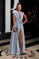 Wholesale Jessica Alba Red Carpet - Sexy V Neck With Flower A Line Side Split Floor Length Long Party Formal Jessica Alba Red Carpet Evening Dresses Gowns