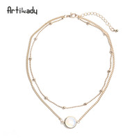 Wholesale opal choker necklaces resale online - Artilady Natural Crystal Layer Choker Necklace Gold Color Chain Opal Stone Pendant Necklace For Women Jewelry Christmas Gift