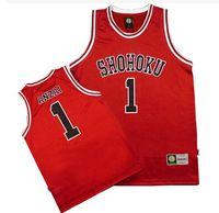Wholesale Cosplay Wearing School Uniform - niform cosplay Shohoku School Basketball Team 1-15 Sakuragi Hanamichi Jersey Tops Shirt Sports Wear Uniform SLAM DUNK Cosplay Size M L XL...