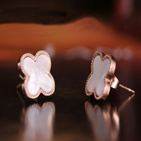 Wholesale Cheap Titanium Earrings - The star of the same paragraph, titanium plated in Rose Gold Earrings quatrefoil ultra cheap quatrefoil shell earrings