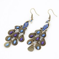 Wholesale Earrings Long Retro - Fashion retro beautiful blue peacock long Tassel earrings jewelry for women wholesale