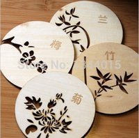 Venda Por Atacado - 10pcs New Cute Hollow Wooden Coaster Absorvente Non-slip Mat Insulation Mesa Mat Coffee Coaster Cup Pads 4 estilos M5118
