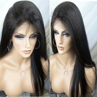 Wholesale 24 Inch Lace Human Wig - Lace Front Wigs Indian Virgin Hair Straight Full Lace Human Hair Wigs For Black Women 8-24 inch With Baby Hair