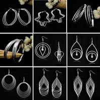 Wholesale American Heart Hoops - New Exaggerated Geometry Hoop & Huggie Earrings European and American Fashion Jewelry Geometric Tassel Earrings Free shipping