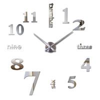nouvelle montre de stickers muraux achat en gros de-Gros-2016 top mode nouvelle livraison gratuite Horloge moderne montre Wall Stickers horloges reloj de pared décoration de la maison horloge Aiguille Quartz