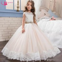 Wholesale little queen gown - 2017 New Cute Little Queen White Lace Flower Girl Dresses Wedding Party Beaded With Ribbon Sash Ball Gowns Girls Pageant Gowns