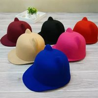 Wholesale Duck Ear Cap - Mom and daughter hats little devil cat ear hat wool hats small British equestrian duck tongue