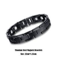 Wholesale Real Magnet - Real Titanium Steel Jewelry Healing Magnetic Health Care Bangle Fashion White Bio Magnets Bracelet Men Black Cuff Wristbands 22cm*1.25cm