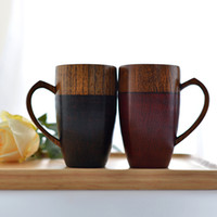 Wholesale Wholesale Wooden Couple - Premium Wood Cups with Handle Special Red Black Couples Mugs Coffee  Tea Milk Juice Water Cup Wooden Mug Gift Drinkware