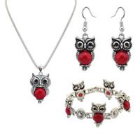 collares de imitación turquesa al por mayor-Conjuntos de joyería fina El nuevo conjunto de imitación animal Collar de cadena de búho turquesa conjunto de accesorios de joyería de moda conjunto de cuatro