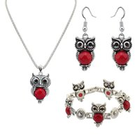 Wholesale Owl Chain Earrings - Fine Jewelry sets The new set of animal imitation Turquoise owl chain necklace earrings set fashion jewelry accessories four set