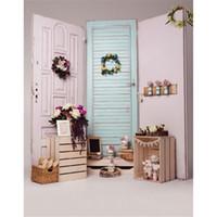 Wholesale vinyl wood backdrop - Light Blue White Wooden Doors Vinyl Photo Backdrop Indoor Wood Cases Flowers Decors Kids Children Photography Background Baby Newborn Props