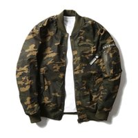 Atacado- Marca japonesa Men Camouflage Coat Spring New Thin Bordado dupla face Blusa de bombardeiro de homens Uniform Coat