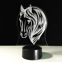 2017 3D Horse Head Night Lamp Lampe Optique 3D AA Batterie DC 5V Vente en gros Dropshipping Livraison gratuite