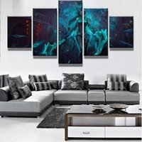 5 Pcs / Set Framed Printed League of Legends Jogo Shadow Fist Akali Poster Modern Home Wall Decor Canvas Picture Art HD Print Painting