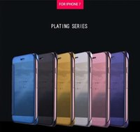Wholesale iphone 5s mirror case - for iphone X 5s SE 6 6s 6 plus 7 8 plus Galaxy A7 A8 A8 PLUS 2018 Mirror Clear View Flip Case Electroplate plated Wallet leather Cover 1pcs