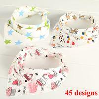 Wholesale Animal Kid Towels - 45 style cotton Baby Girls Boy Kids Saliva Towel Bandana Dribble Triangle Bibs Infant Head Scarf