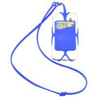 kordon telefon kılıfı cüzdan toptan satış-10 ADET Silikon İpi Kart Yuvası ile Telefon Tutucu Cüzdan için Evrensel Kılıf Kapak Tutucu Sling Kolye Bilek Kayışı Cep Telefonu