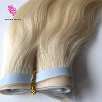 extensiones de cabello de trama de pu al por mayor-18inches 100g sin cortar a 30 incehs # 613 recto remy peruana PU cinta de trama cinta de la piel en las extensiones de pelo en la acción