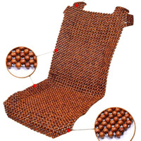 Wholesale Cushion Wooden Beads - 1X New Natural Car Wooden Bead Cushion Car Summer Maple Wooden Bead Seat Cushion Summer Mat Back Massage Pad Single Seat Cover