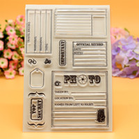 Wholesale Recording Photo Frame - Wholesale- Scrapbook DIY photo cards account rubber stamp clear stamp finished transparent chapter photo frame record top secret 10x15cm