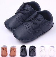 Wholesale Baby Antislip - Hot-selling Baby Boys First Walkers Lace-Up PU Leather Newborn shoes Antislip Baby Footwear