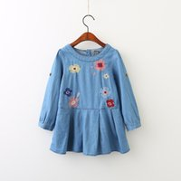 Wholesale Cute Korean Baby Clothes - Everweekend Girls Floral Embroidered Ruffles Denim Dress Cute Baby Western Korean Fashion Autumn Party Clothing