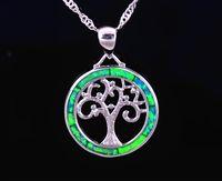 Wholesale sterling silver fire opal jewelry - Wholesale & Retail Fashion Jewelry Fine Blue Fire Opal Green Tree Stone Sterling Sliver Pendants For Women PJ17082717