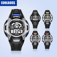 Wholesale best alarm watch - 0911Coolboss multifunction children's electronic watches 7 color Luminous alarm clock calendar time unisex sports watches child best gift