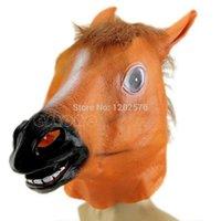 Wholesale Gangnam Style Wholesale - Wholesale- Horse Head Mask Latex Animal Costume Prop Gangnam Style Toys Party Halloween HXP001
