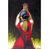 pintores de óleo dançarinos venda por atacado-Figura pinturas a óleo Dançarina de Flamenco Em Vestido Vermelho mulher arte Pintura para decoração do quarto pintados à mão