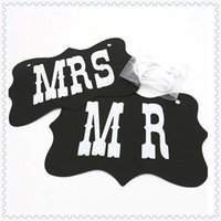 Wholesale Couples Chair - Wholesale- Couple Chair Mr & Mrs Signs Wedding Party Photo Props Banner Decoration Hot WN0301