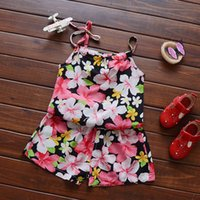 Wholesale Sling Shirts - Summer Children Clothing Sets Baby Girls Floral Sling Shirt+ Shorts 2pcs Sets Kids Beachwear Girls Leopard Suits Kids Girls Outfits